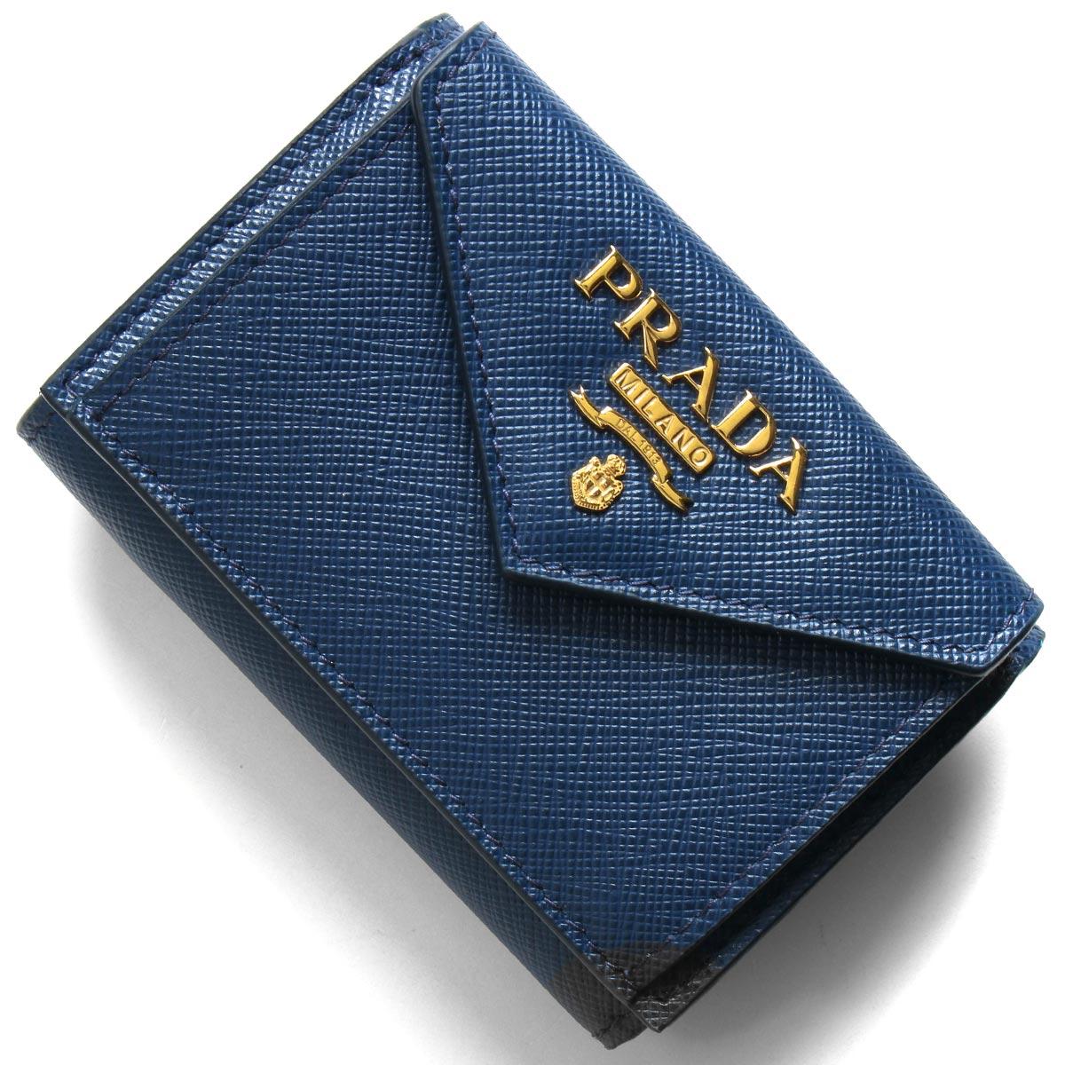 プラダ 三つ折り財布/ミニ財布 財布 レディース サフィアーノ メタル ブリエッタブルー 1MH021 QWA F0016 PRADA