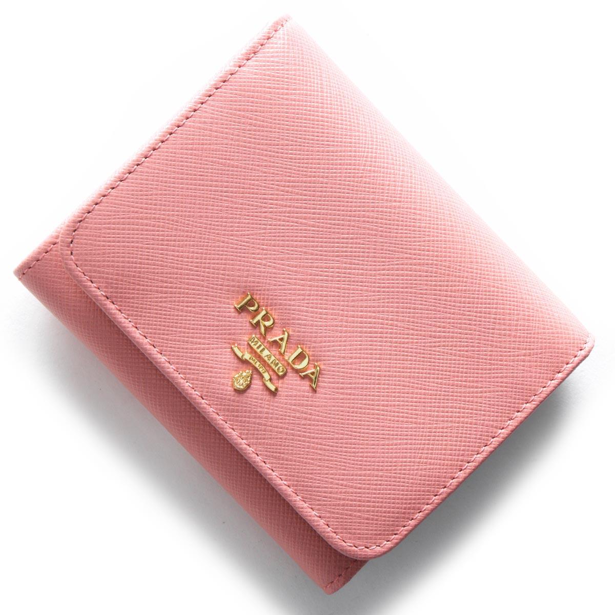 プラダ 三つ折り財布 財布 レディース サフィアーノ メタル SAFFIANO METAL ペタロピンク 1MH176 QWA F0442 PRADA