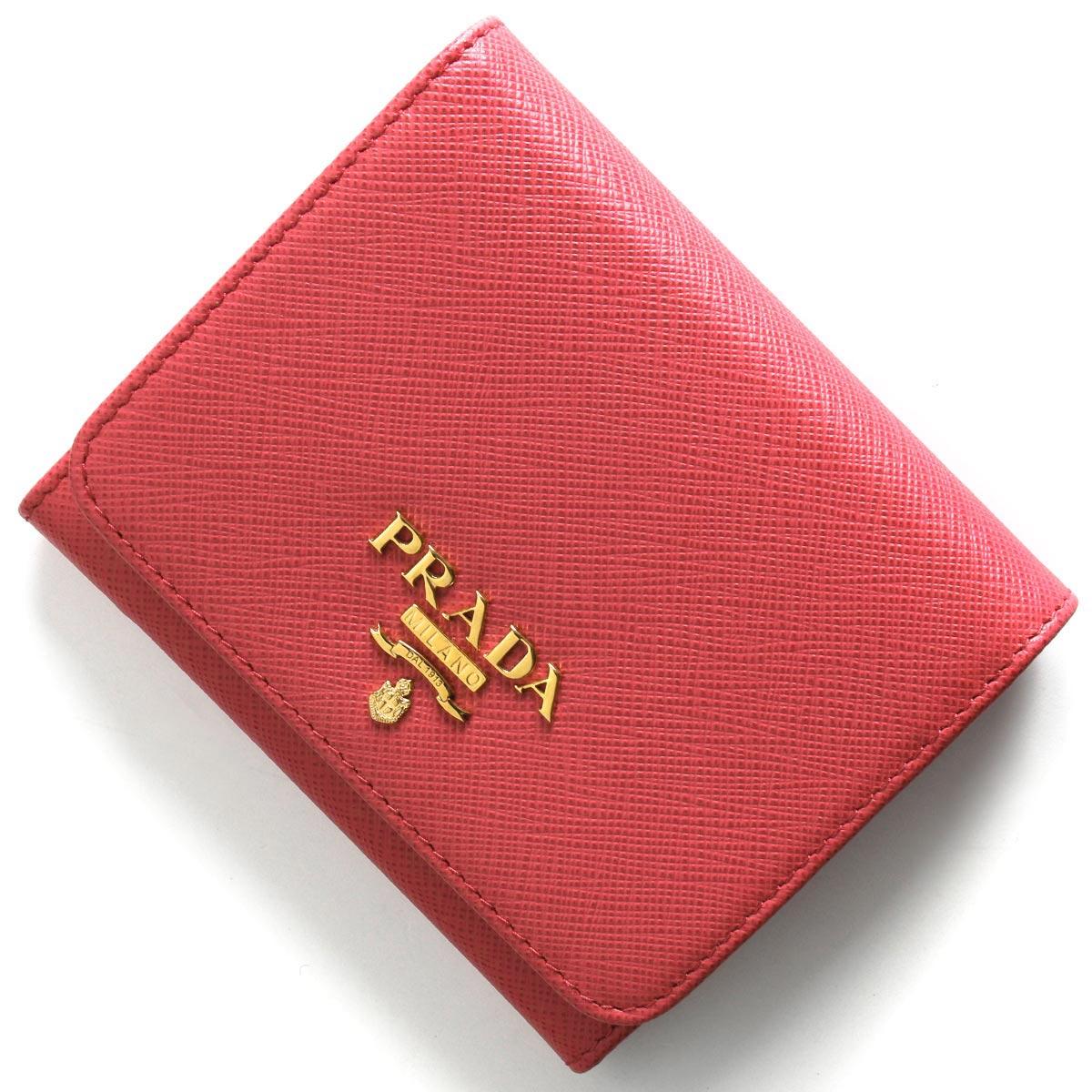 プラダ 三つ折り財布 財布 レディース サフィアーノ メタル ペオニアピンク 1MH176 QWA F0505 PRADA