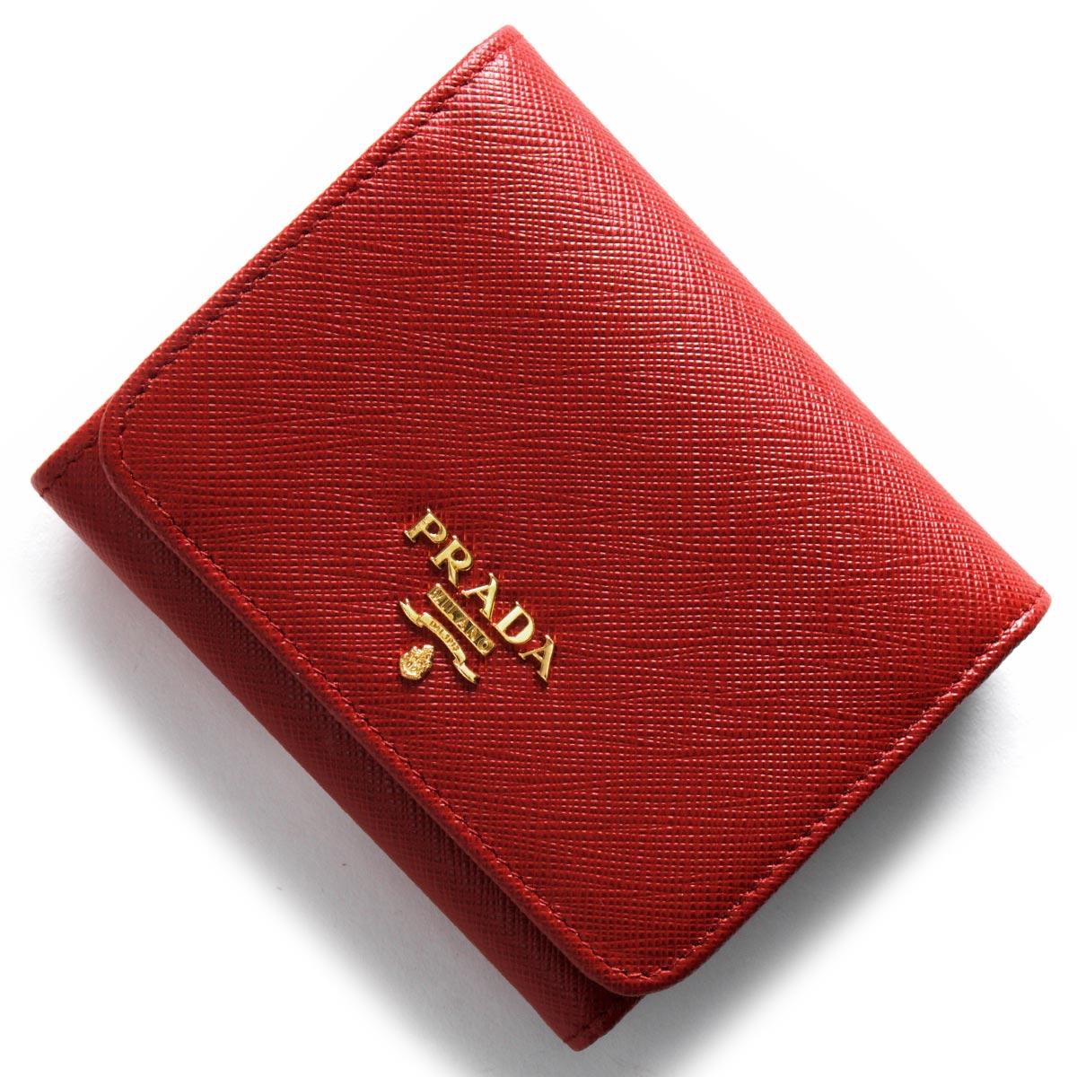 プラダ 三つ折り財布 財布 レディース サフィアーノ メタル フォーコレッド 1MH176 QWA F068Z PRADA