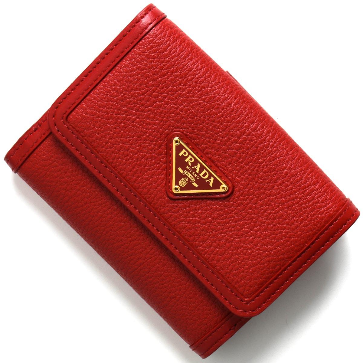 プラダ 二つ折り財布 財布 レディース ヴィッテロ フェニックス 三角ロゴプレート ロッソレッド 1MH523 2B16 F0011 PRADA
