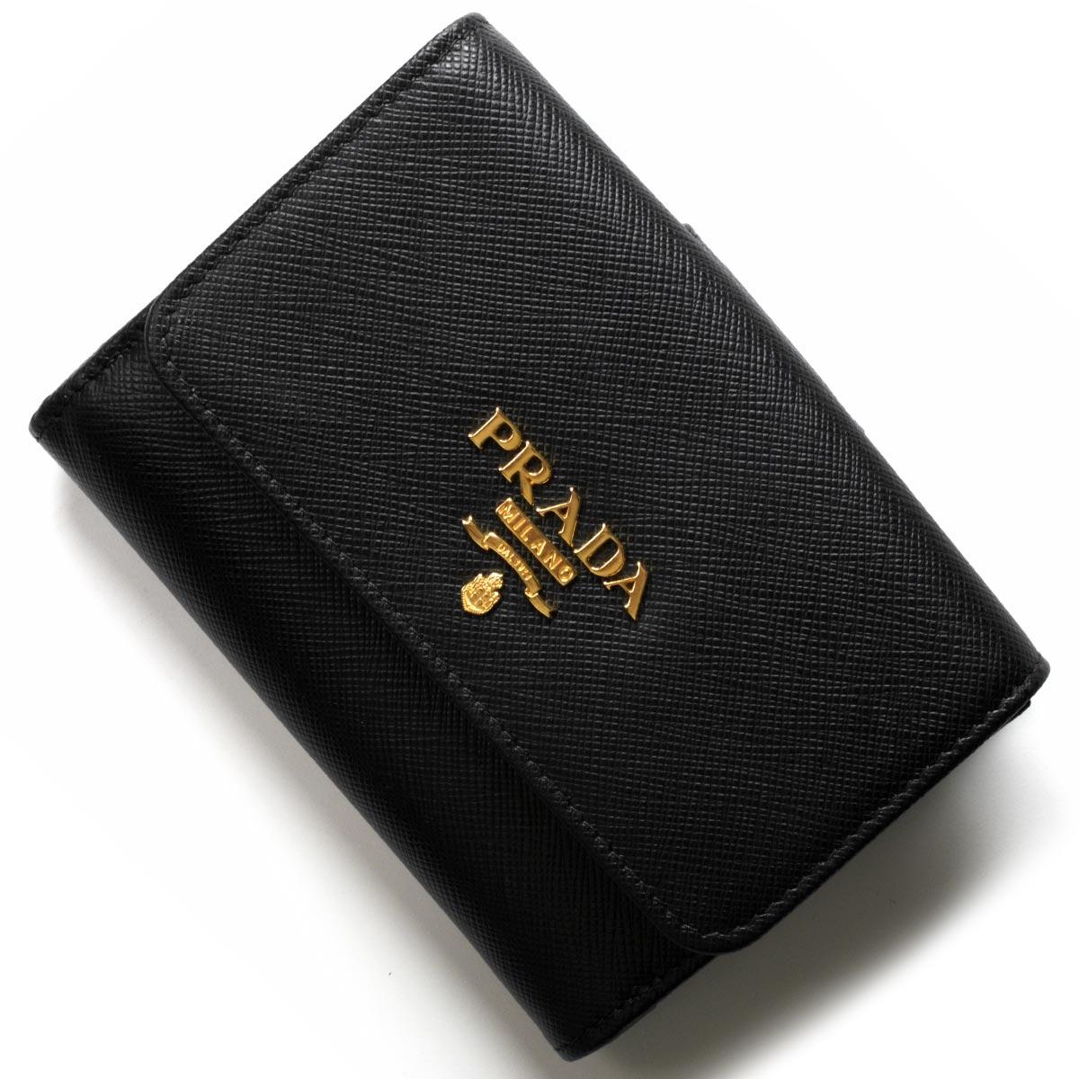 プラダ 二つ折り財布 財布 レディース サフィアーノ メタル ブラック 1MH523 QWA F0002 PRADA