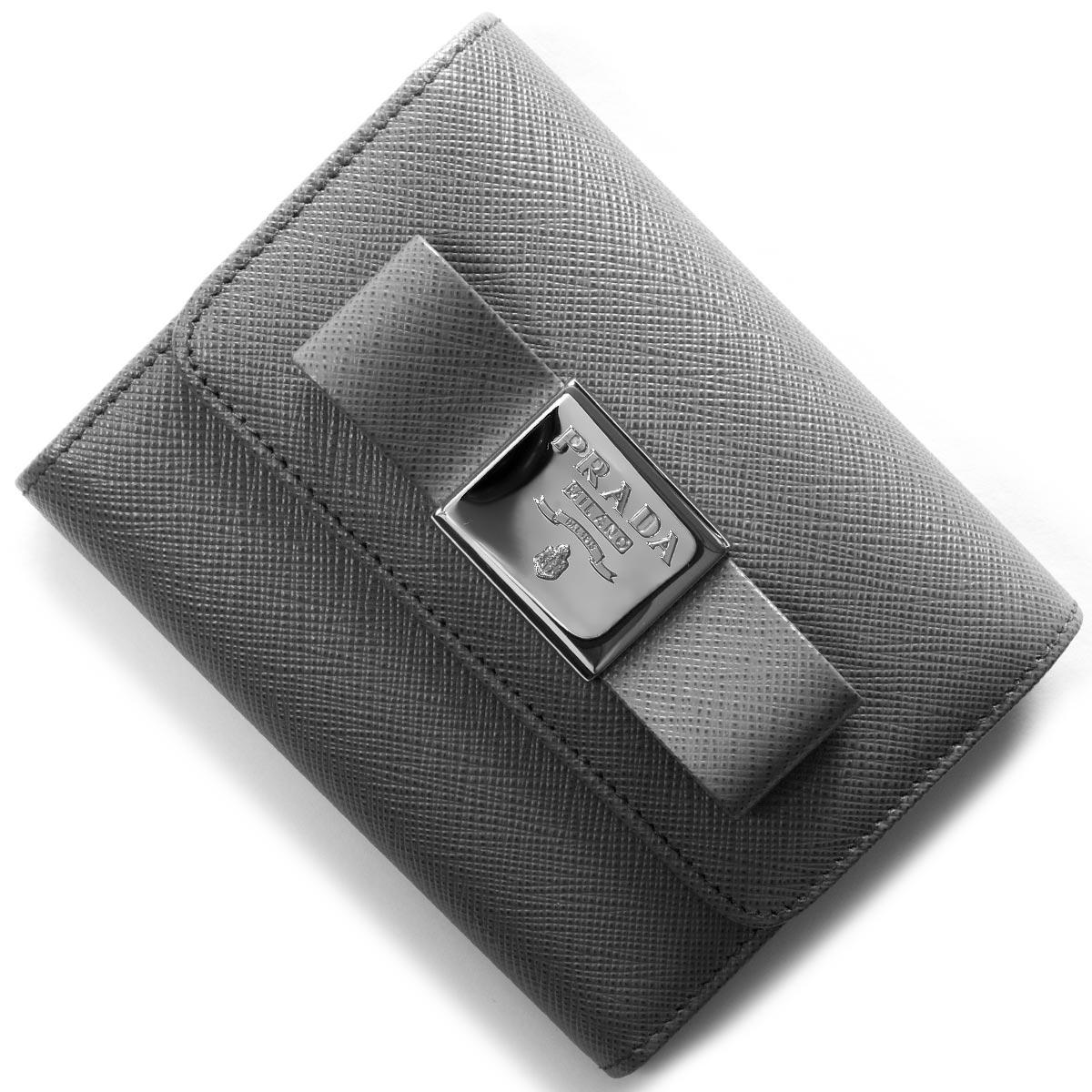 プラダ 三つ折り財布 財布 レディース サフィアーノ フィオーコ SAFFIANO FIOCCO リボン マルモグレー 1MH840 2AEE F0K44 PRADA