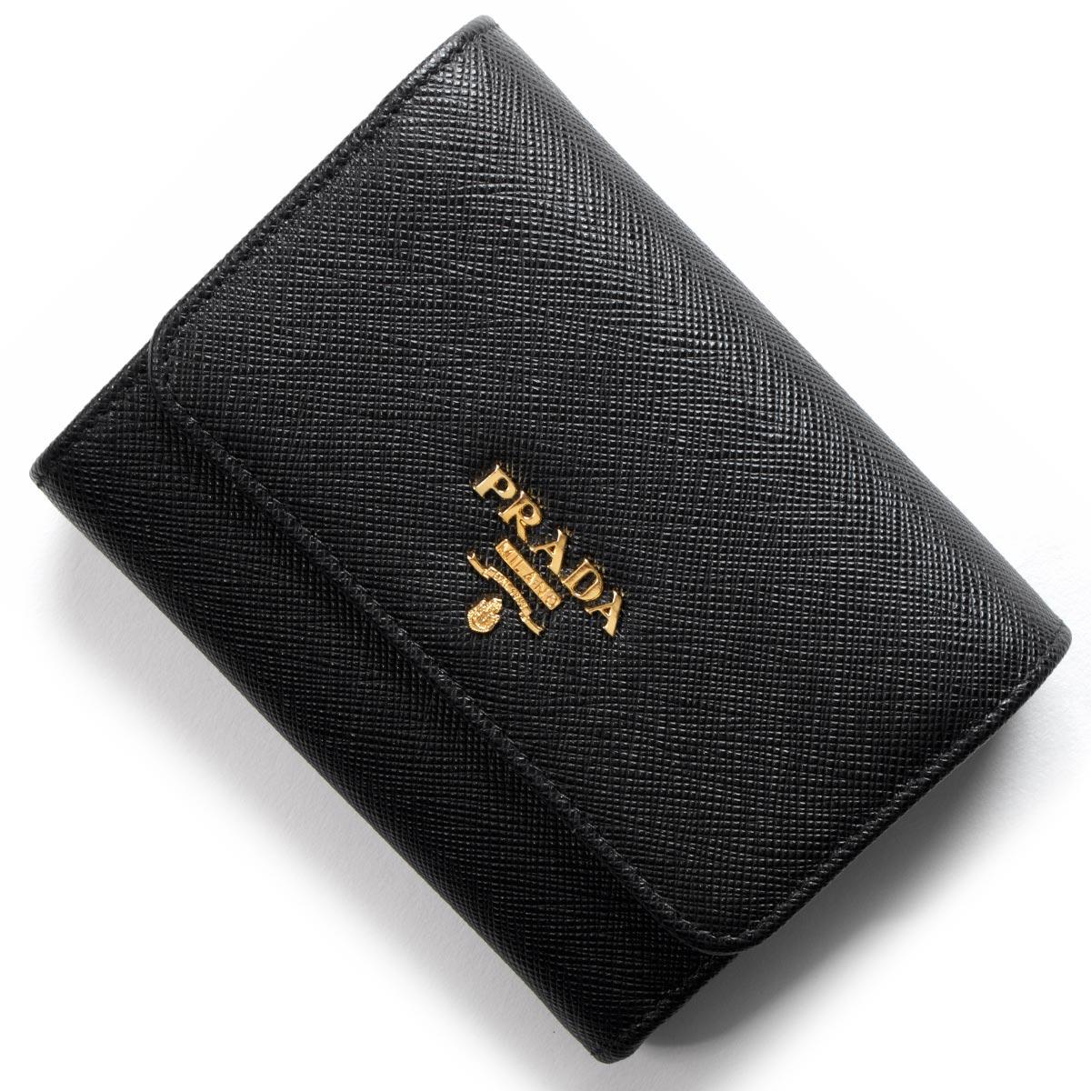 プラダ 三つ折り財布 財布 レディース サフィアーノ メタル ブラック 1MH840 QWA F0002 PRADA