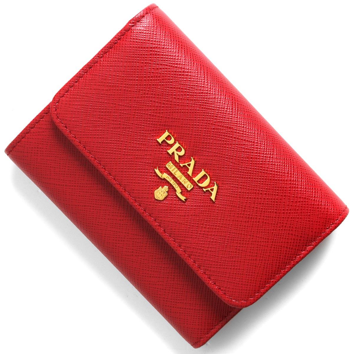 プラダ 三つ折り財布 財布 レディース サフィアーノ メタル フォーコレッド 1MH840 QWA F068Z PRADA
