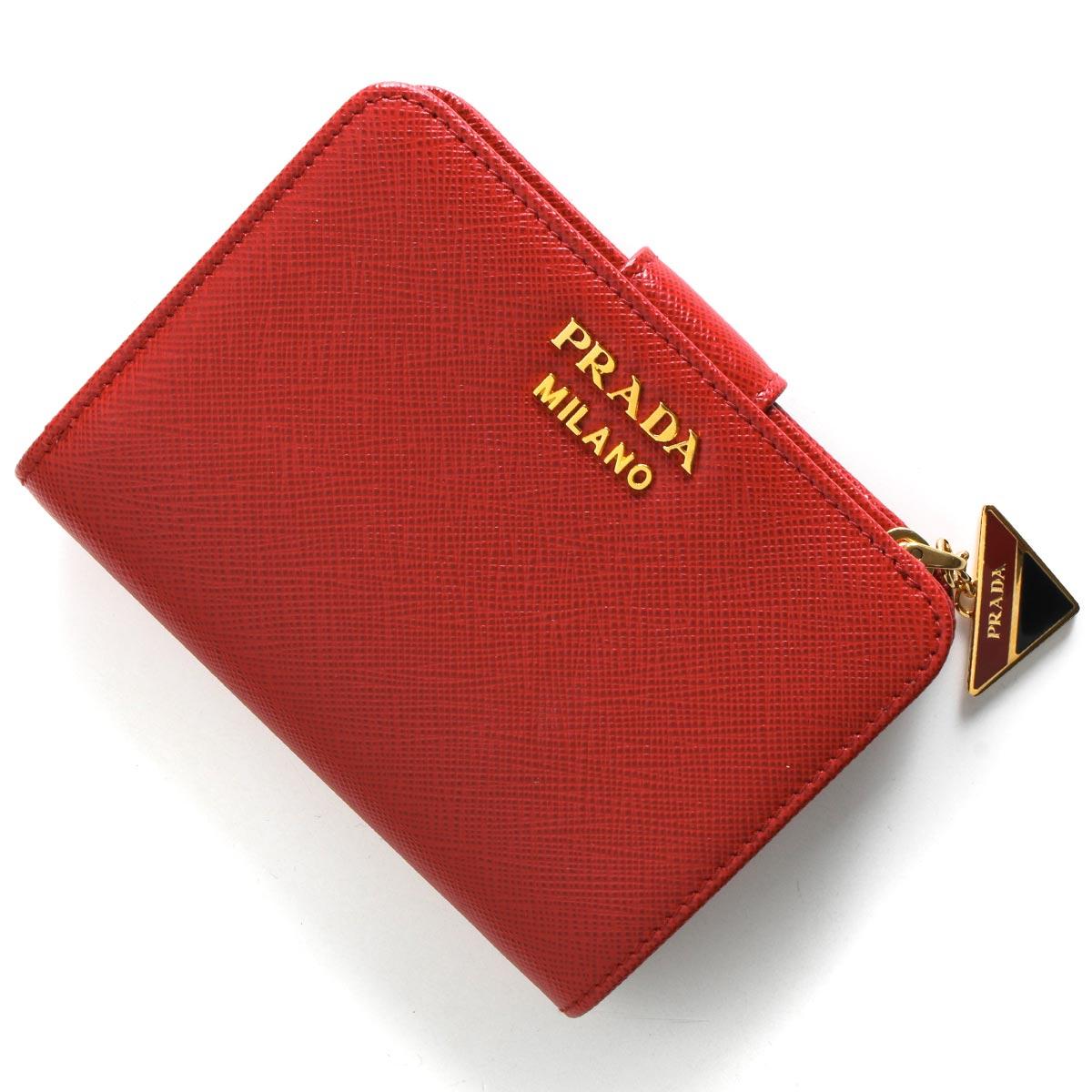 プラダ 二つ折り財布 財布 レディース サフィアーノ トライアングル 三角ロゴプレート フォーコレッド 1ML018 2CGD F068Z 2019年春夏新作 PRADA