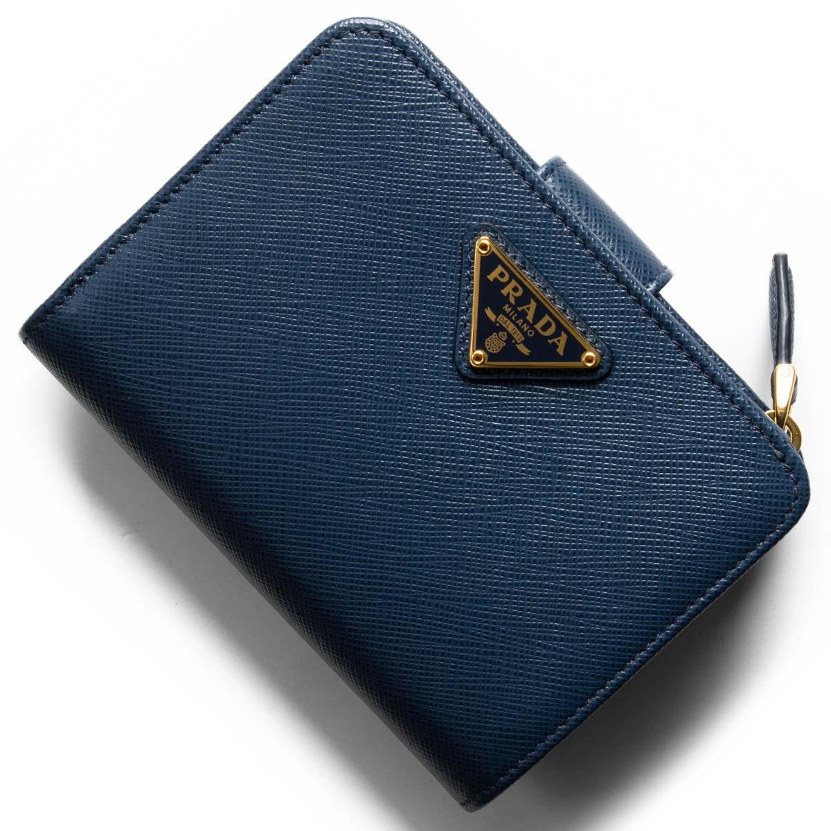58995b1a0a3a プラダ二つ折り財布財布レディースサフィアーノトライアングル三角ロゴプレートブリエッタブルー1ML018QHHF0016PRADA クロエ 美しい