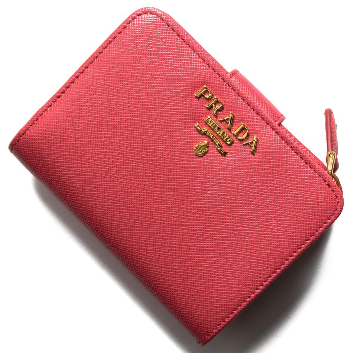 プラダ 二つ折り財布 財布 レディース サフィアーノ メタル ペオニアピンク 1ML018 QWA F0505 PRADA