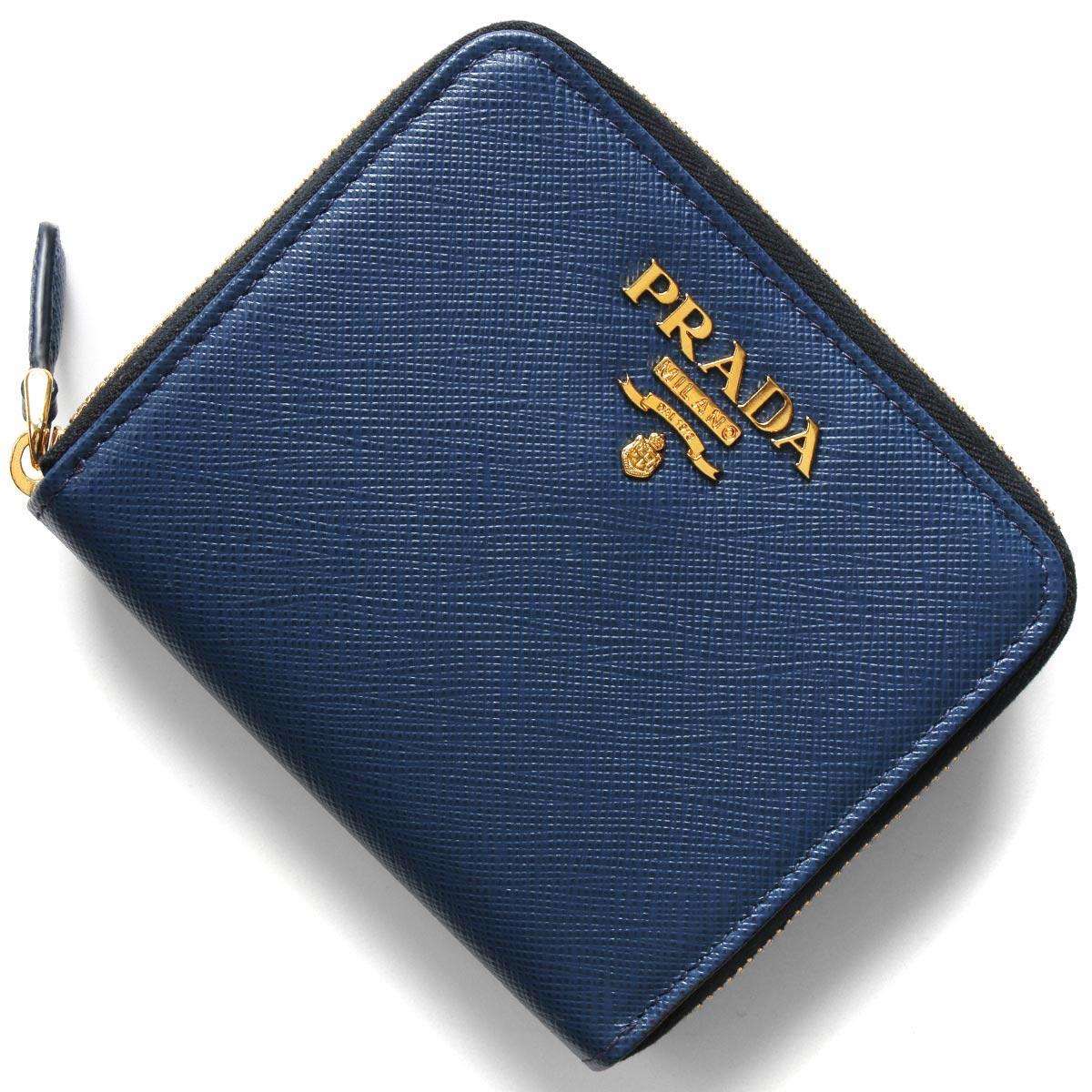 プラダ 二つ折り財布 財布 レディース サフィアーノ メタル ブリエッタブルー 1ML036 QWA F0016 PRADA