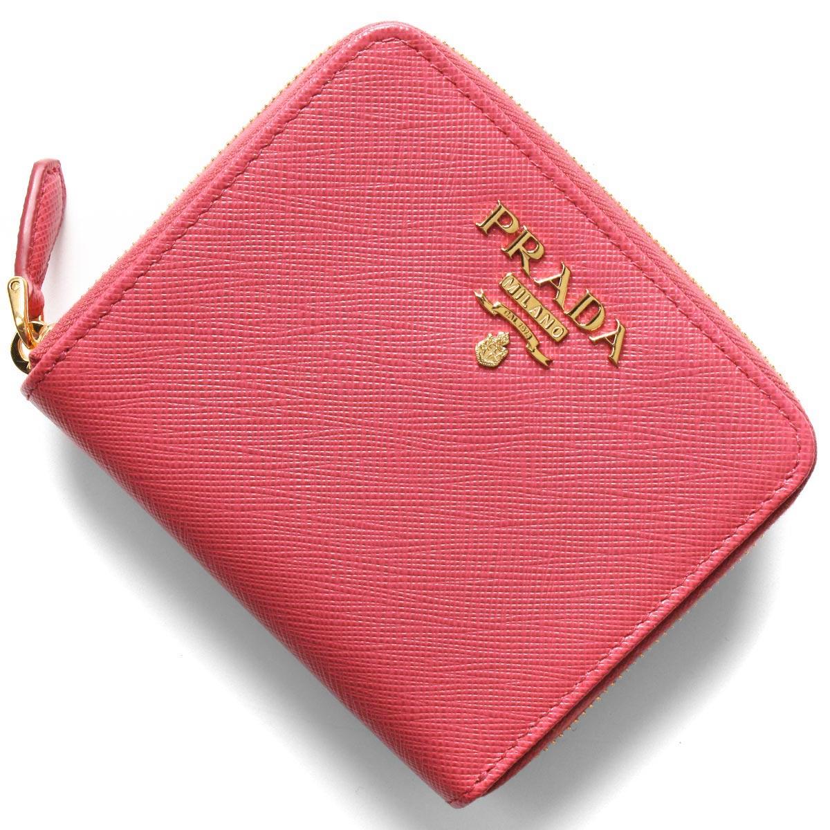 プラダ 二つ折り財布 財布 レディース サフィアーノ メタル ペオニアピンク 1ML036 QWA F0505 PRADA