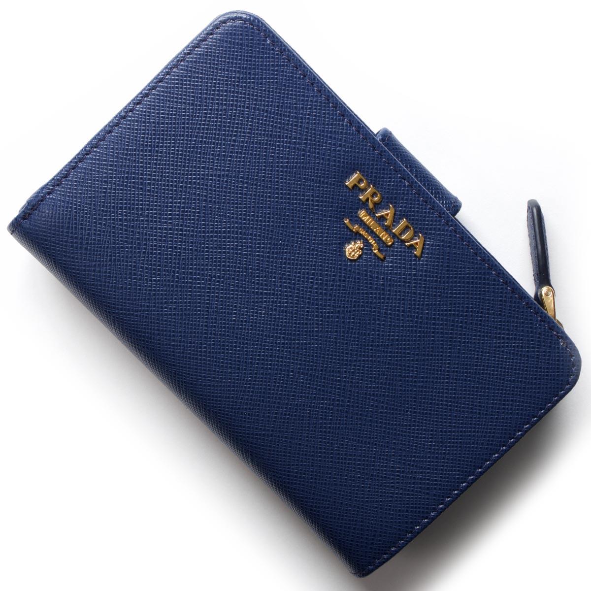 プラダ 二つ折り財布 財布 レディース サフィアーノ メタル SAFFIANO METAL ブリエッタブルー 1ML225 QWA F0016 PRADA
