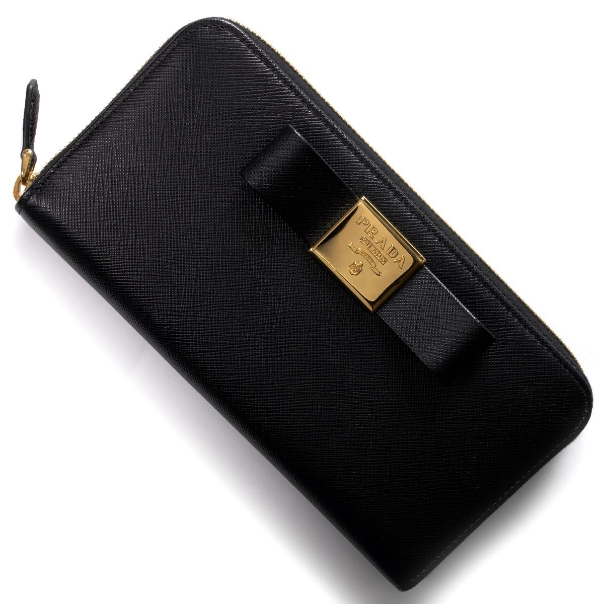 プラダ 長財布 財布 レディース サフィアーノ フィオーコ SAFFIANO FIOCCO リボン ブラック 1ML506 2AEE F0002 PRADA