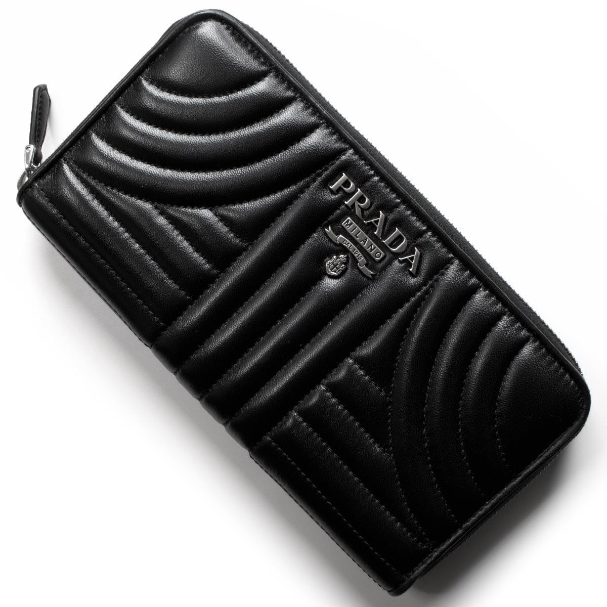 プラダ 長財布 財布 レディース ナッパ インプントゥーレ ブラック 1ML506 2B0X F0002 PRADA