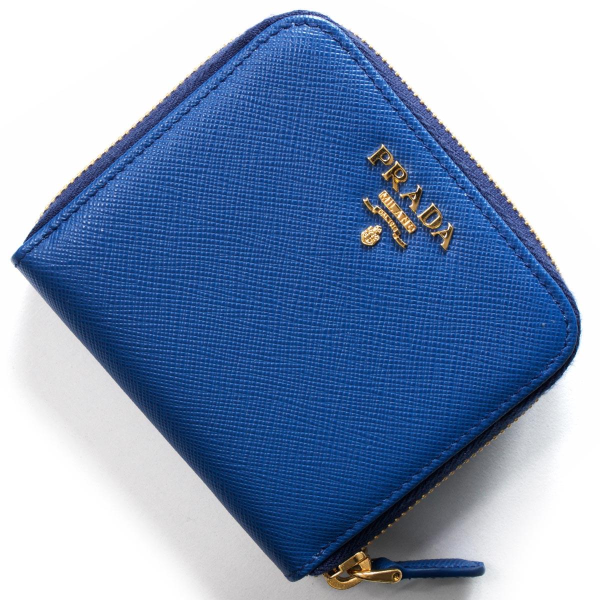 プラダ 二つ折り財布 財布 レディース サフィアーノ メタル SAFFIANO METAL アズーロブルー 1ML522 QWA F0013 PRADA
