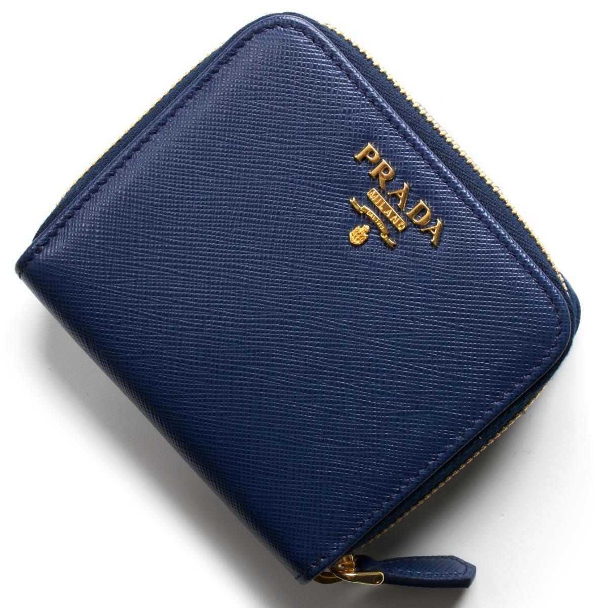 プラダ 二つ折り財布 財布 レディース サフィアーノ メタル ブリエッタブルー 1ML522 QWA F0016 PRADA