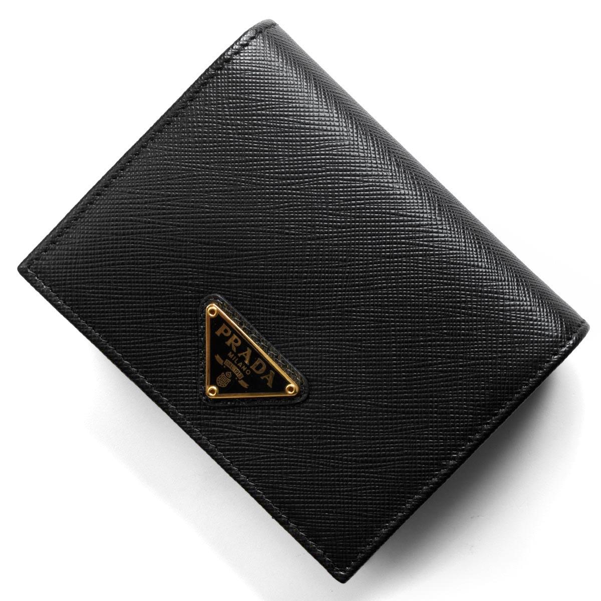プラダ 二つ折り財布 財布 レディース サフィアーノ トライアングル 三角ロゴプレート ブラック 1MV204 QHH F0002 PRADA