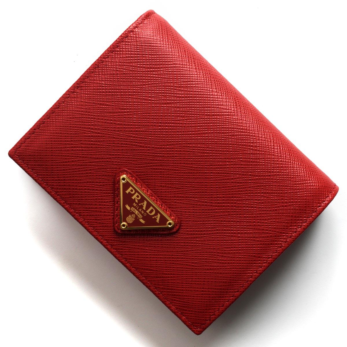 プラダ 二つ折り財布 財布 レディース サフィアーノ トライアングル 三角ロゴプレート フォーコレッド 1MV204 QHH F068Z PRADA