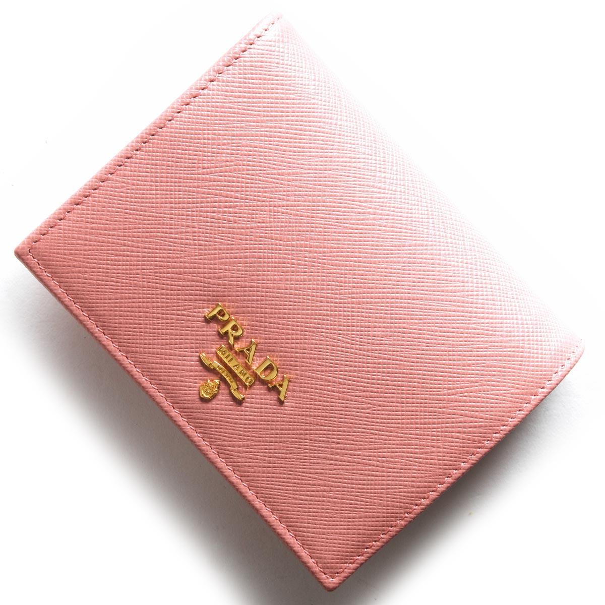 プラダ 二つ折り財布 財布 レディース サフィアーノ メタル ペタロピンク 1MV204 QWA F0442 PRADA