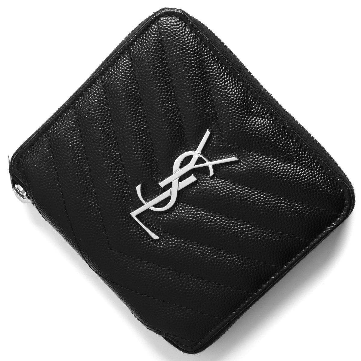 サンローランパリ イヴサンローラン 二つ折り財布 財布 レディース モノグラム YSL ブラック 582112 BOWA2 1000 SAINT LAURENT PARIS