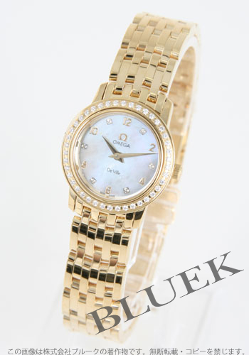 Ladies Omega-Devil prestige 4175.75 YG pure gold DIA bezel white shell mini