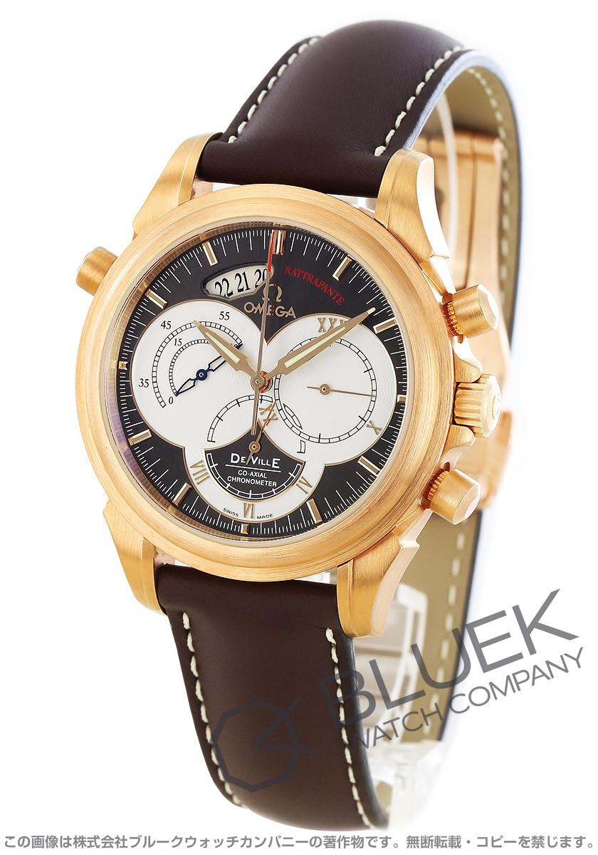4648.60.37 オメガデビルコーアクアシャル ラトラパンテ RG pure gold chronograph leather brown men