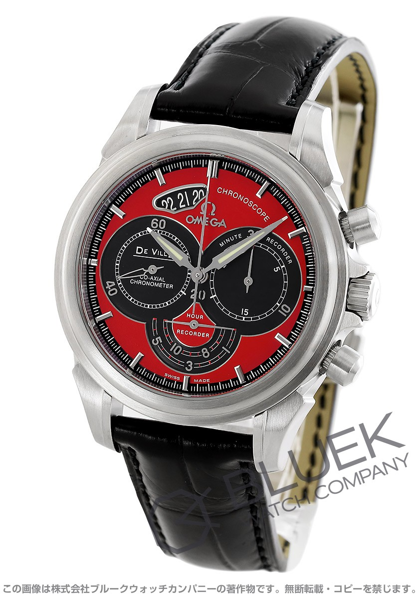 Omega-Devil co-axial Chronoscope 4851.61.31 leather red & Black mens