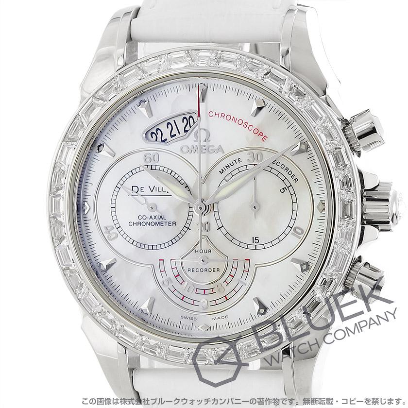 Omega-Devil co-axial Chronoscope Palladium DIA bezel leather white shell men's 422.98.41.50.05.001
