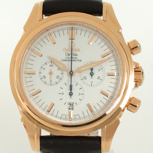 Men's Omega-Devil coaxial 4650.20.32 RG pure gold chronograph with crocodile leather dark brown / white