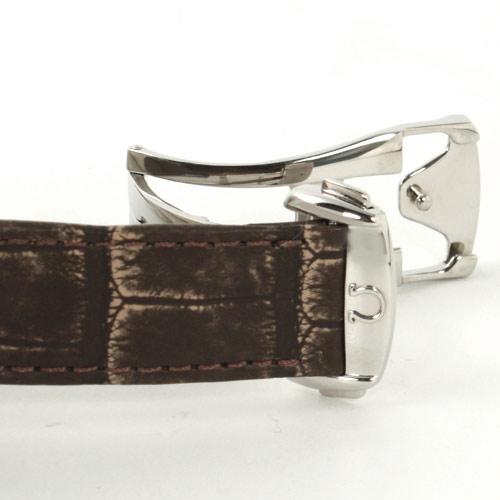 Men's Omega-Devil X2 big date 7813.30.39 chronometer crocodile leather dark brown / white