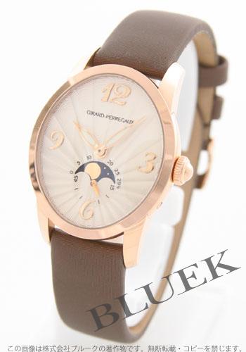 ジラールペルゴキャッツアイムーンフェイズ PG pure gold automatic satin leather brown / silver Lady's 80490.0.52.1151 watch clock