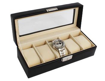 Cowhide high quality watch collection case five storing black RWB5PL