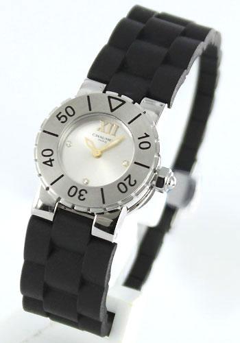Chaumet class one 3 P diamond rubber Black / Silver ladies W 0620B-094 watch clock