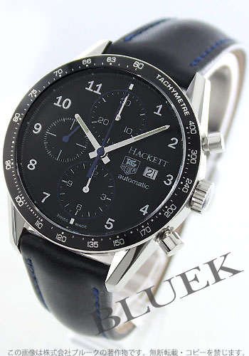 Tag Heuer Carrera Hackett automatic chronograph leather black mens CV201R... FC6275