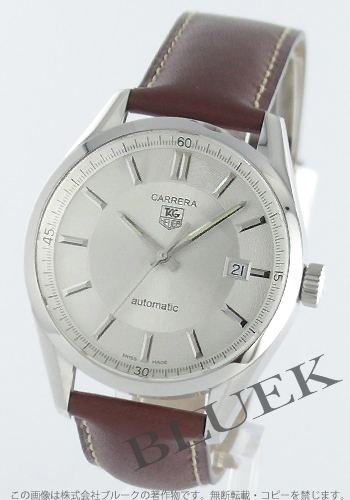 Tag Heuer Carrera automatic Leather Brown / silver mens WV211A... FC6203