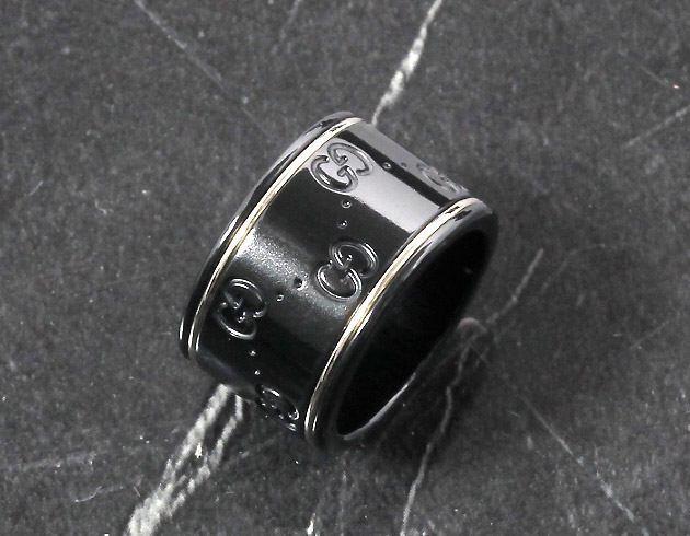 グッチ リング【指輪】 アクセサリー メンズ GGアイコン ブラック&ホワイト 225976 I19A1 8061 GUCCI