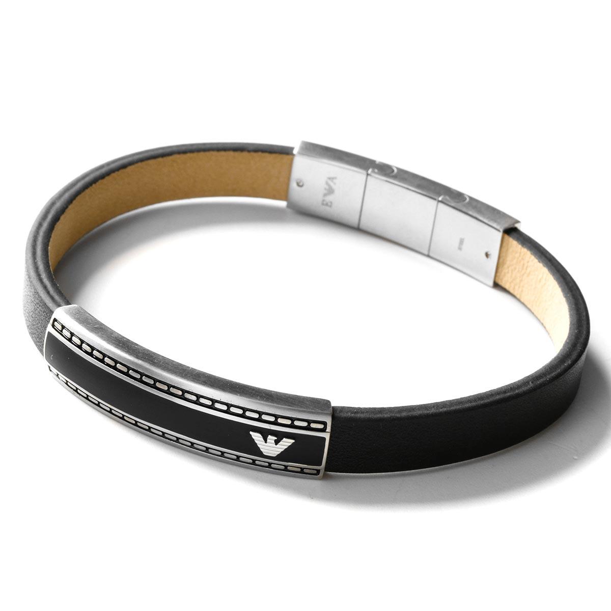 エンポリオアルマーニ ブレスレット アクセサリー メンズ イーグルマーク シルバー&ブラック EGS1923040 EMPORIO ARMANI