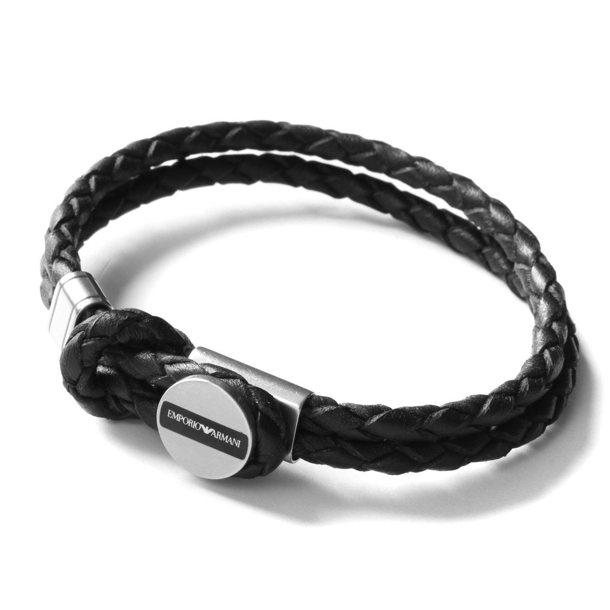 エンポリオアルマーニ ブレスレット アクセサリー メンズ イーグルマーク シルバー&ブラック EGS2178040 EMPORIO ARMANI