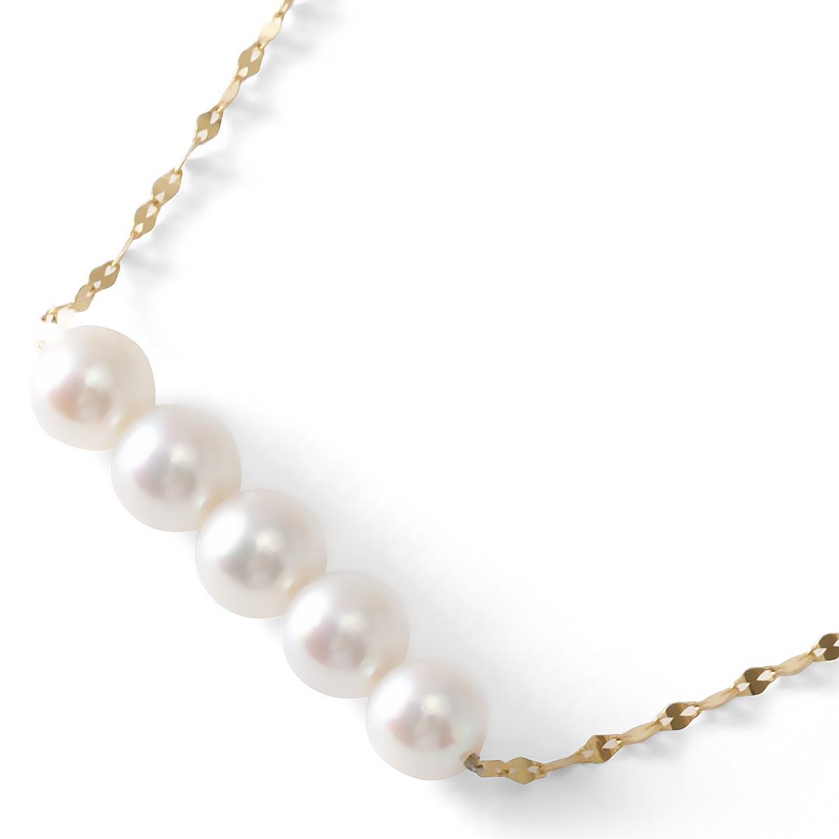 ジュエリー ネックレス アクセサリー レディース アコヤ花珠真珠 5ミリ 5粒 K18 パールホワイト&イエローゴールド DKPN6 JEWELRY