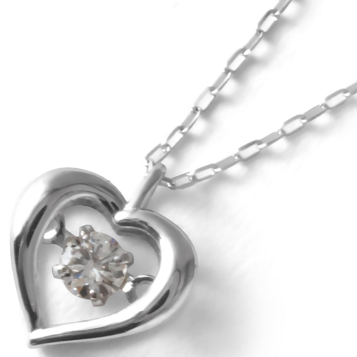 ジュエリー ネックレス アクセサリー レディース ダイヤモンド 一粒 0.08ct K18 ダンシングストーン ハート クリア&ホワイトゴールド DTFW073 WG JEWELRY