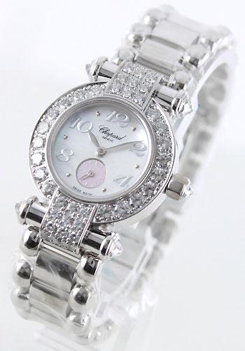 ショパールインペリアル WG pure gold diamond Small second white & pink shell Lady's 39/3229/20 watch clock