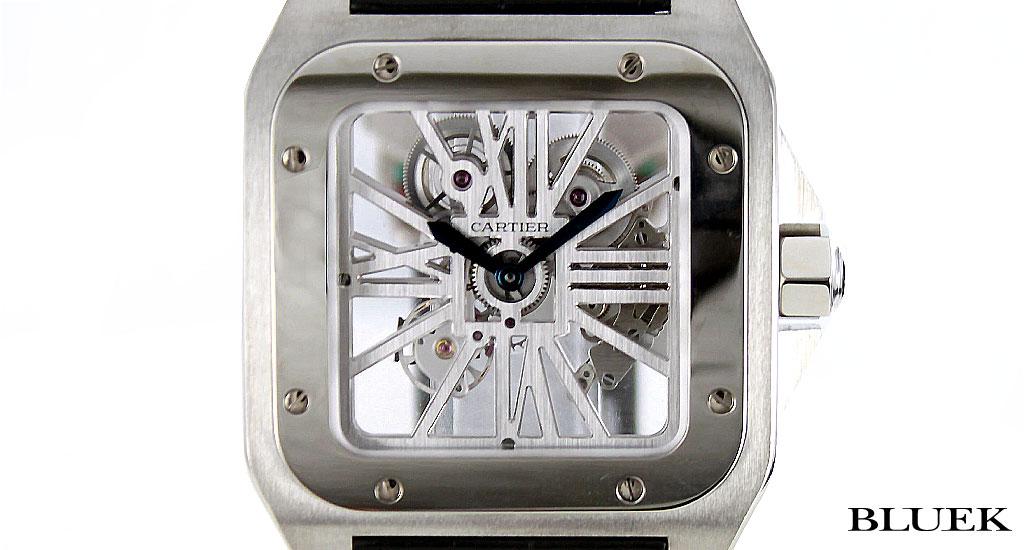 Cartier Santos 100 XL WG & Palladium hand roll with crocodile leather black skeleton mens W2020018