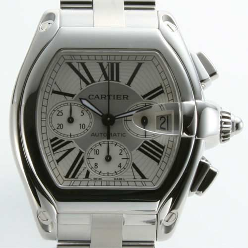 Cartier Roadster XL automatic chronograph silver mens replacement belt with W62019X6