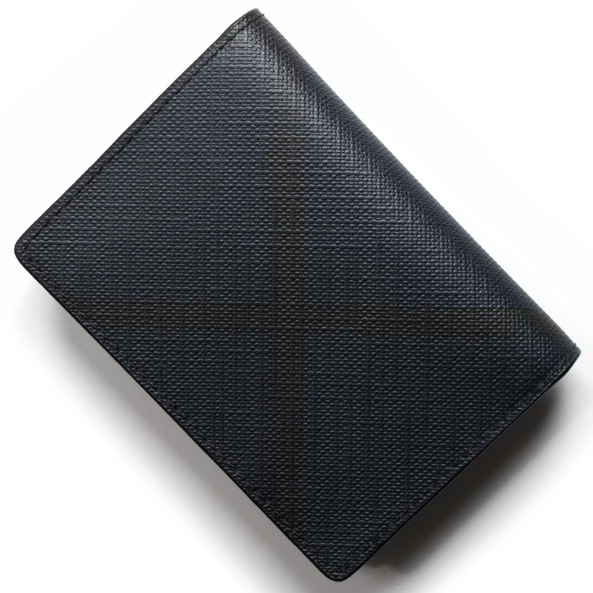 バーバリー カードケース/名刺入れ メンズ ロンドンチェック ネイビー&ブラック 4052320 4100B BURBERRY