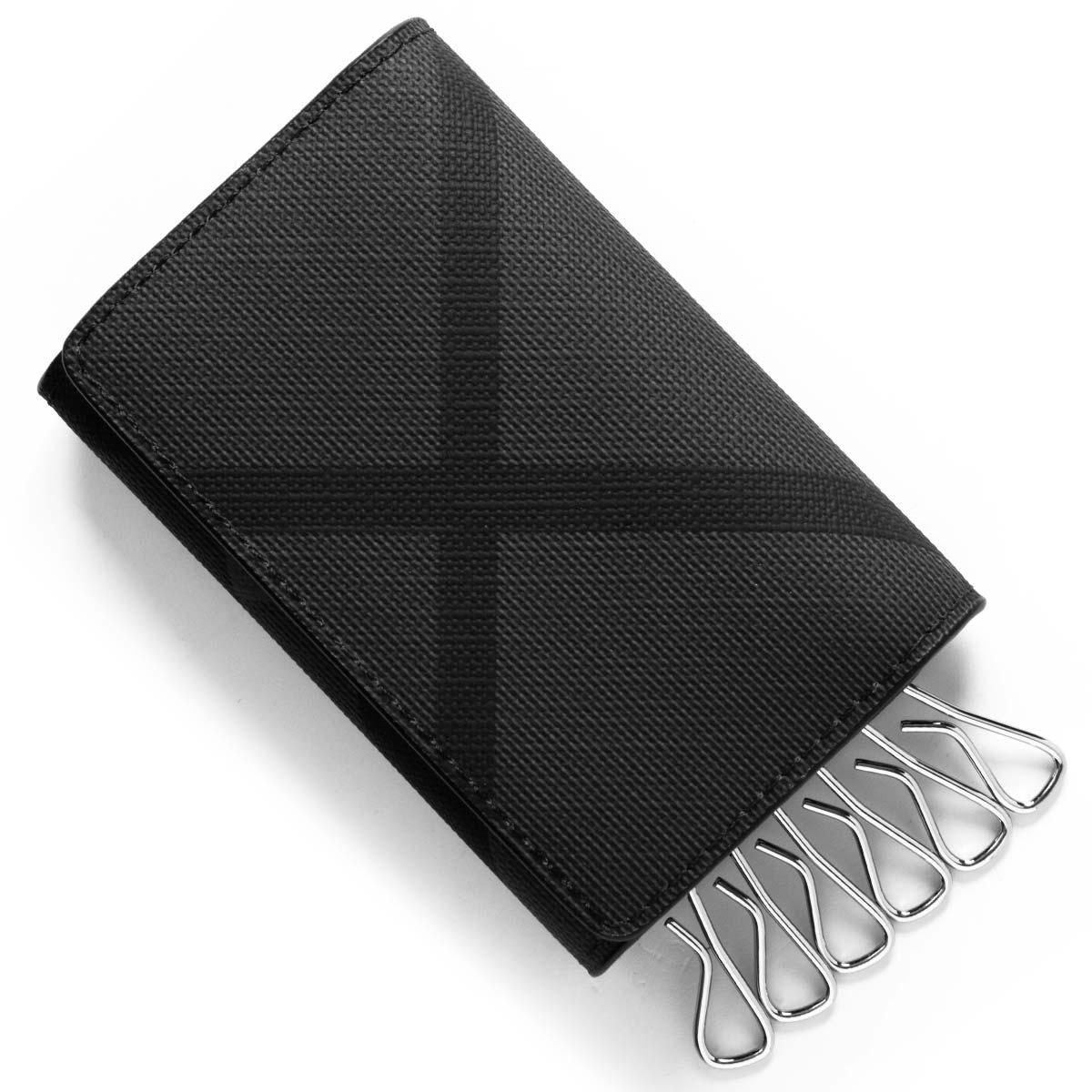 バーバリー キーケース メンズ エバン ロンドンチェック チャコールグレー&ブラック 8006040 A1008 BURBERRY