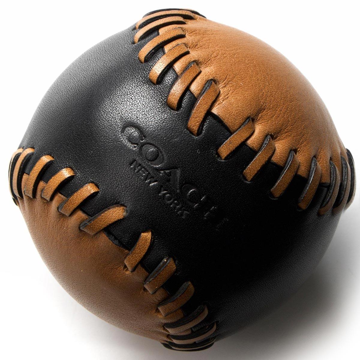 【X'masSALE】コーチ ソフトボール/インテリア小物 メンズ ベースボール ステッチ ブラック&サドルブラウン F65249 BKSD COACH
