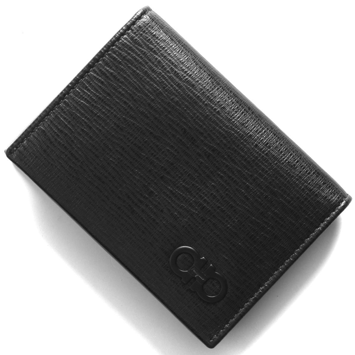フェラガモ カードケース/名刺入れ メンズ リバイバル ダブル ガンチーニ ブラック&ミルキーシーグリーン 66A062 NERO 0733305 SALVATORE FERRAGAMO