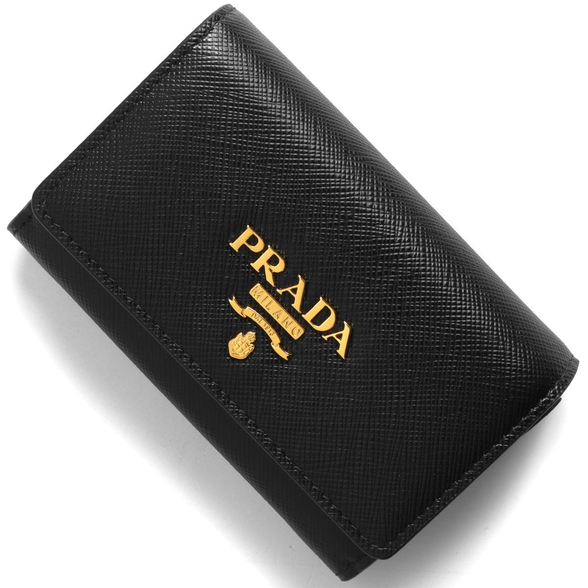 プラダ カードケース/名刺入れ/コインケース レディース サフィアーノ メタル ブラック 1MH027 QWA F0002 PRADA