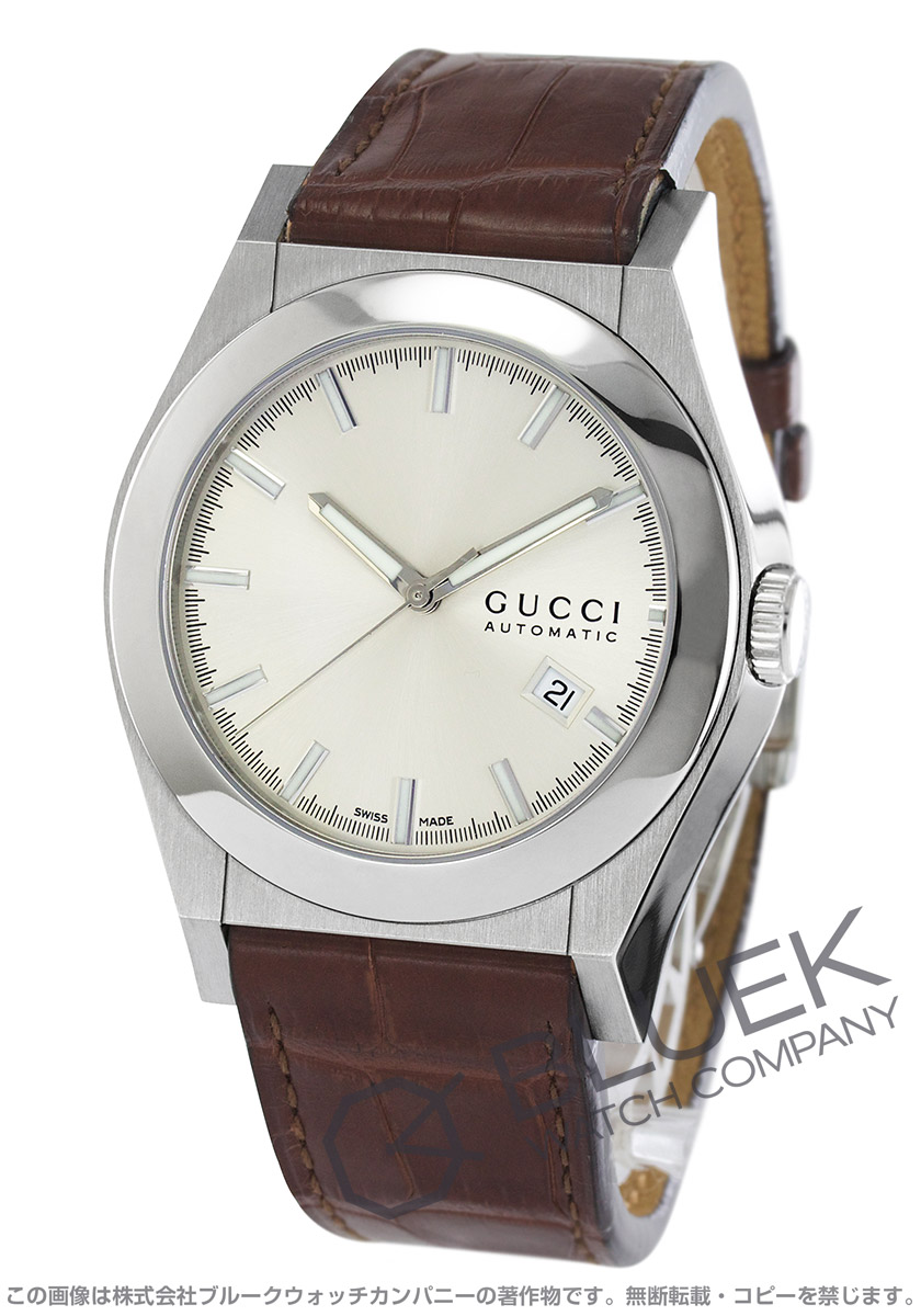 Gucci YA115 Pantheon Leather Brown / silver mens YA115204