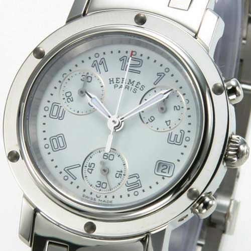 Hermes Clipper chronograph white ladies CL1.310.132/3780