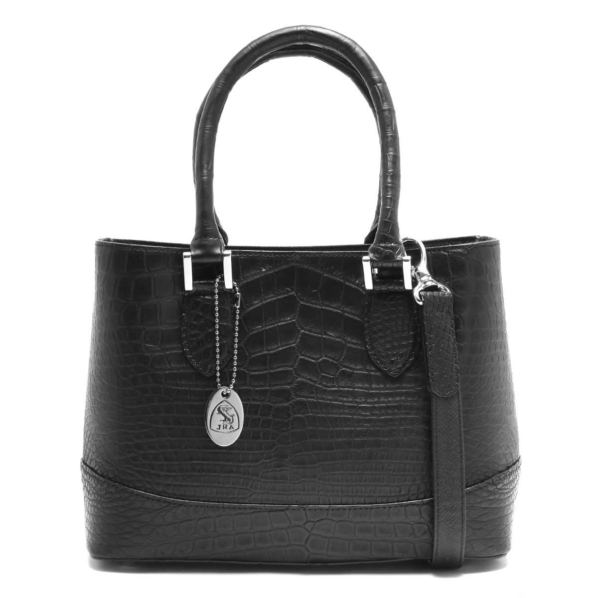 本革 ハンドバッグ/ショルダーバッグ バッグ レディース クロコ ブラック CRB312 BLK Leather